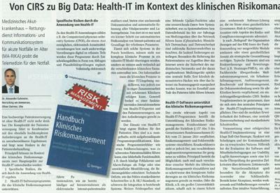 Von CIRS zu Big Data Artikel von Dr. Euteneier in der Zeitschrift Management & Krankenhaus Dez. 2015